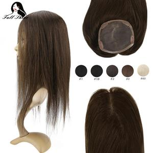 Full Shine Hair Topper Silk Base 13*13cm Invisible Hair Piece With Clips 100% Machine Made Remy Crown Hair Extensions Mono base(China)