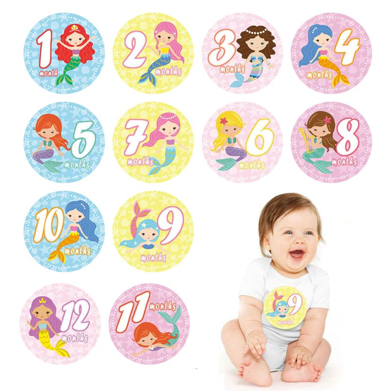 First Year Monthly Milestone Photo Sharing Newborn  1-12 Months Baby Boy Girl Belly Stickers For Photo Keepsakes