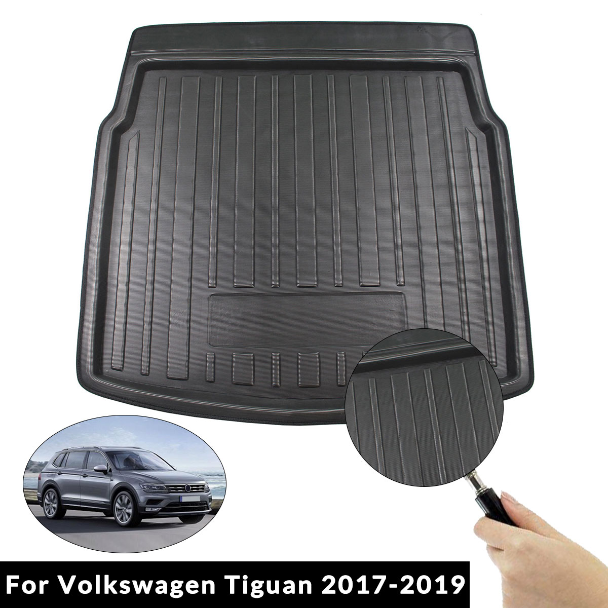 Car Interior Cargo Liner Boot Tray Rear Trunk Cover Matt Mat Floor Carpet Kick Pad For Volkswagen For VW Tiguan 2017 2018 2019