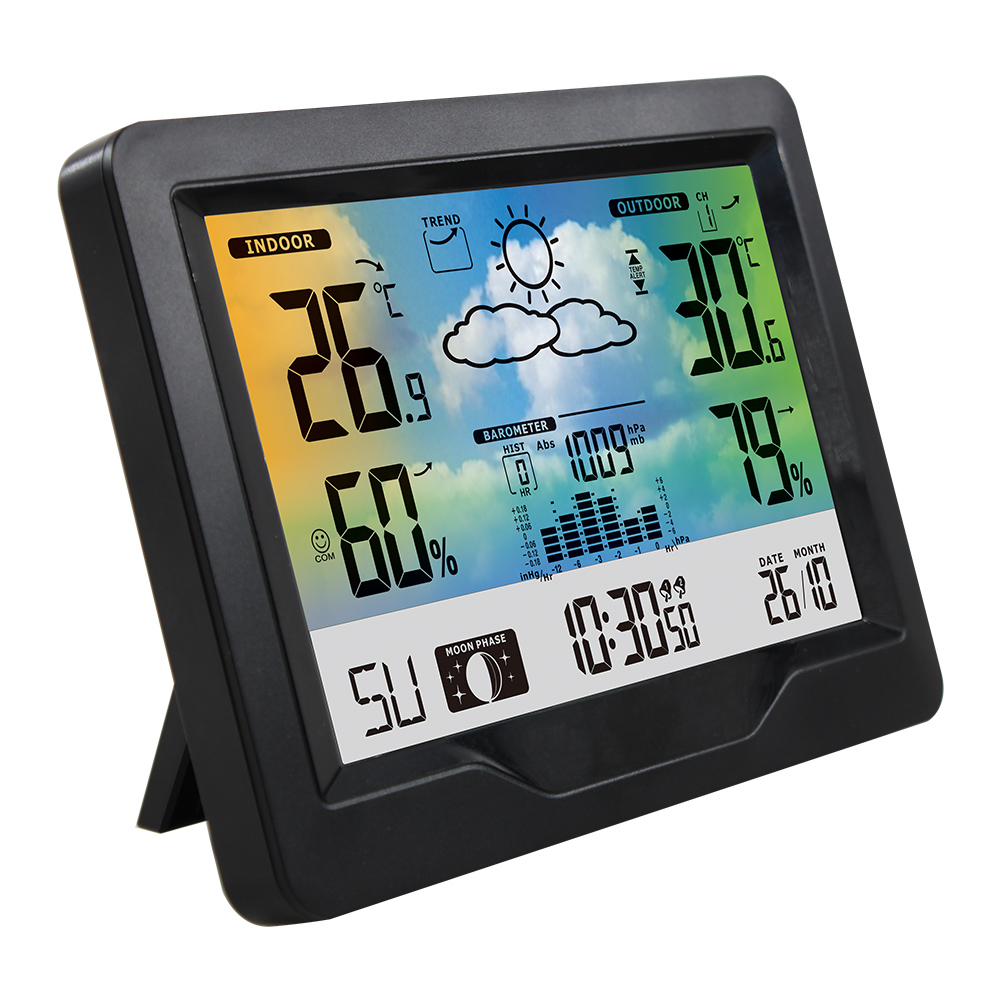 Wireless Weather Station Indoor Outdoor Color Screen Weather Forecast Station With Outdoor Sensor Temperature With Alarm Clock
