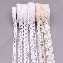 5/10Yards Weiß Beige Baumwolle Bestickt Spitze Net Bänder Stoff Trim DIY Nähen Handgemachte Handwerk Materialien Liefert