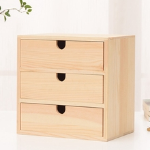 Home Decoration Storage Wooden Small Drawer 3 Layers Natural Bedside Table
