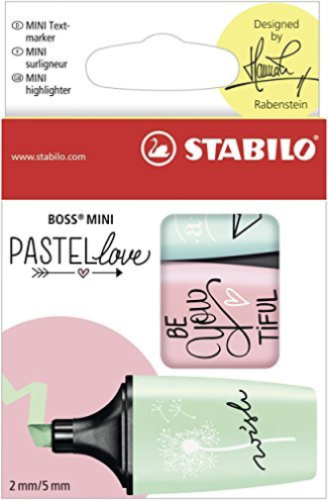 Pack Of 3 Stabilo Boss Mini Pastel Love Highlighters Mint Blush & Turquoise Colors