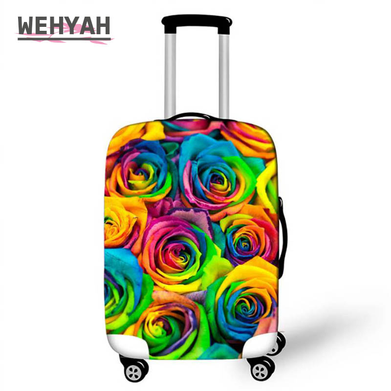 Wehyah Spandex Rose Luggage Cover Suitcase Covers Travel Accessories Custom Print Dust Proof Cover 18-32'' Protective Case ZY083