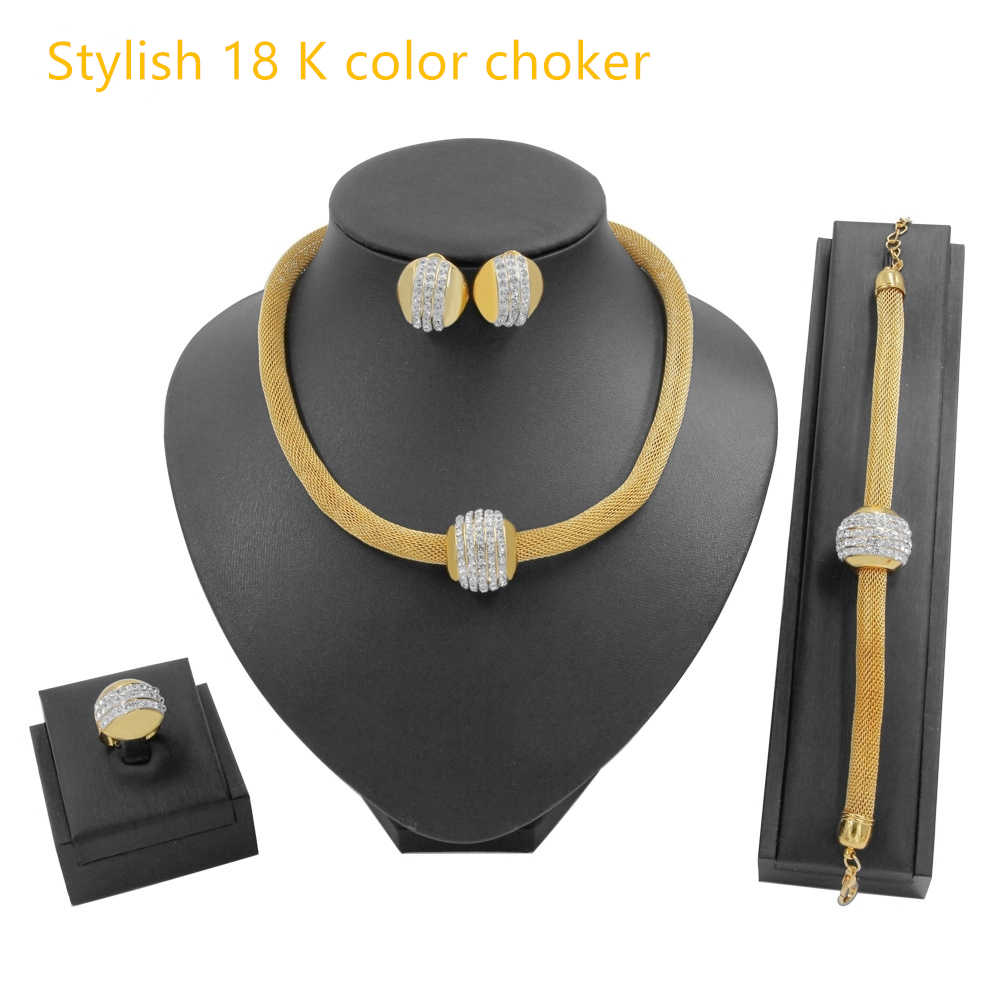 לוקסוס שרשרת נשים דובאי זהב תכשיטי סטי עבור נשים בנות אפריקאי אמנות חיים זהב שרשרת צהוב לולאות