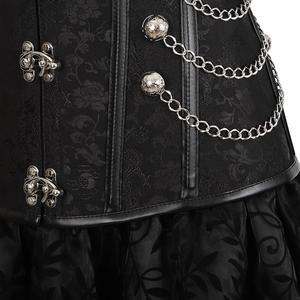 Image 3 - Corset jupe 3 pièces cuir robe bustiers corset steampunk pirate lingerie corsetto irrégulier burlesque grande taille noir marron