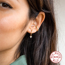 New Trendy 925 Sterling Silver Hoop Earrings for women Gold color luxury Crystal Arrow Elegant Clear ear bone Accessories