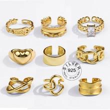 Anillos de plata de ley 925 auténtica para Mujer, joyería Anillos de plata 925 de compromiso, color dorado, vintage