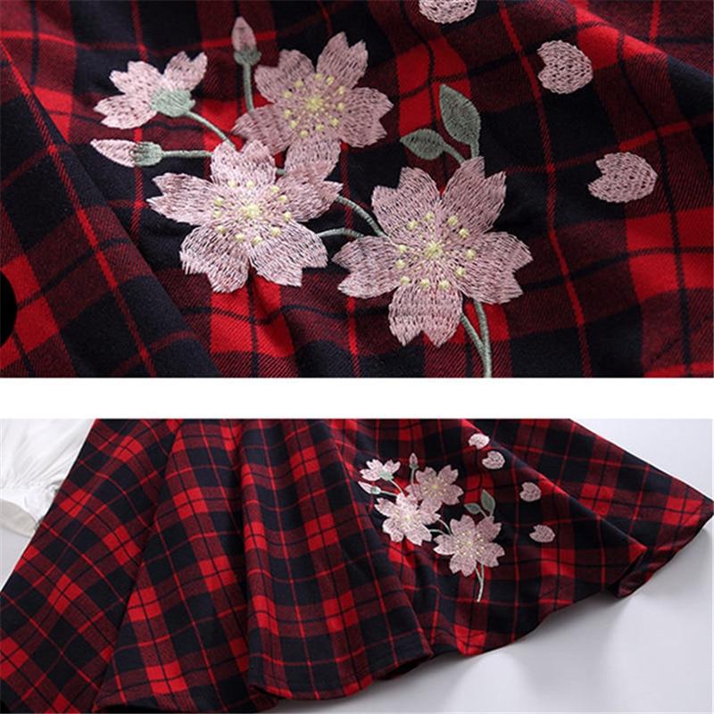 Купить с кэшбэком Girls Blouse Designs Plaid Dress Princess Shirt Collar Cotton Kids Dresses for Girls Embroidery Flower Dress With Long Sleeve