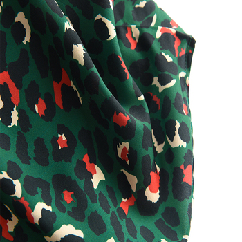 2020 Colorful Leopard Print Long Skirt Fashion Women Ladies Green High Waist Split A-line Maxi Skirt Female 5