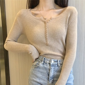 Ailegogo New Autumn Women BM Style Solid Color Sweater Streetwear Long Sleeve Tight Knitted Pullovers Single Breasted Thin Tops 1