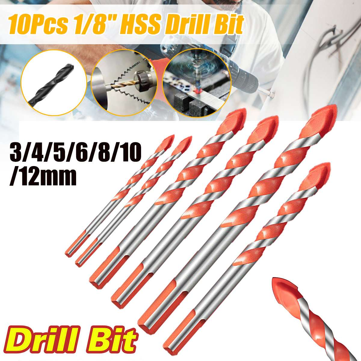 Drill Bit Triangle Shank Drill Multifunctional Ceramic Glass Hole Wall Cobalt Twist Spiral Bit Tile Concrete Drill Bit Tool 7PCS