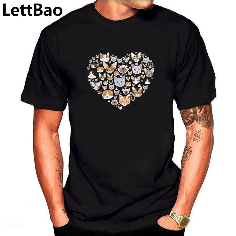Mens T Shirts Fashion 2019 Men T Shirt Cotton Short Sleeve Men Fashion Shirt Tops Tees Men'S I Love Cats Print T-Shirt