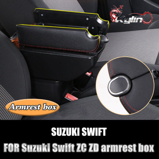 Car Armrest For Swift 2005-2018 Double Layer Console Center Large Storage Box Black Stitching