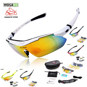 WOSAWE UV Protection Polarized Cycling motorcycle Glasses Bike Goggles Outdoor Sports Bicycle moto Sunglasses With 5 Lens 5 lens polarized outdoor sports bike bicycle sunglasses gafas mtb cycling glasses eyewear peter goggles man