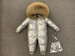 New baby conjoined down jacket in 2019 winter boy's silver thick down jacket coat female baby windproof warm ski down jacket90%