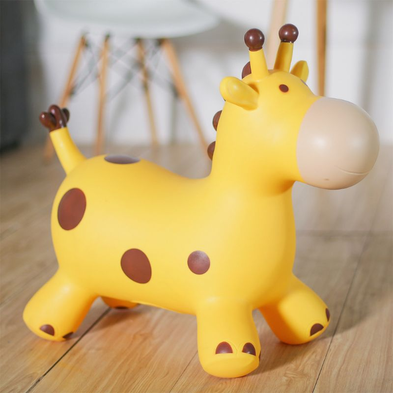 Inpany Bouncy Giraffe Hopper Inflatable Jumping Giraffe Bouncing Animal Toys 72XC