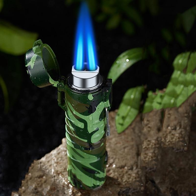 Водонепроницаемая и металлическая струйная Бутановая турбо-зажигалка, водонепроницаемая и ветрозащитная наружная подсветка для кемпинга,...