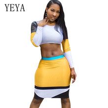 YEYA Round Neck Long Sleeve Bag Hip Slim Pencil Mini Dress Two Pieces Sets Sexy Hollow Out Patckwork Vintage Boaycon Short