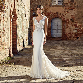 Bridal Gowns Sexy V Neck Lace Appliques Satin Bohemian Wedding Dresses Plus Size Boho Mermaid Dress Vestido De Novia - discount item  43% OFF Wedding Dresses