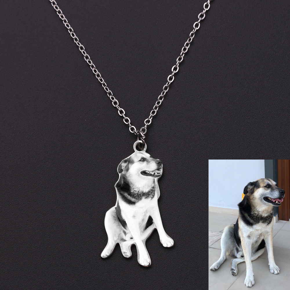 MEIBEADS Stainless Steel Custom Cat Dog Animal Photo Necklace Pendants DIY Custom Photo Pendant Commemorative Necklace