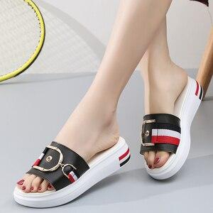 Image 4 - Jzzddown 女性スリッパフラット靴の女性の本革ビーチサンダルレディース高級ベルトプラットフォームスライドフリップは、夏