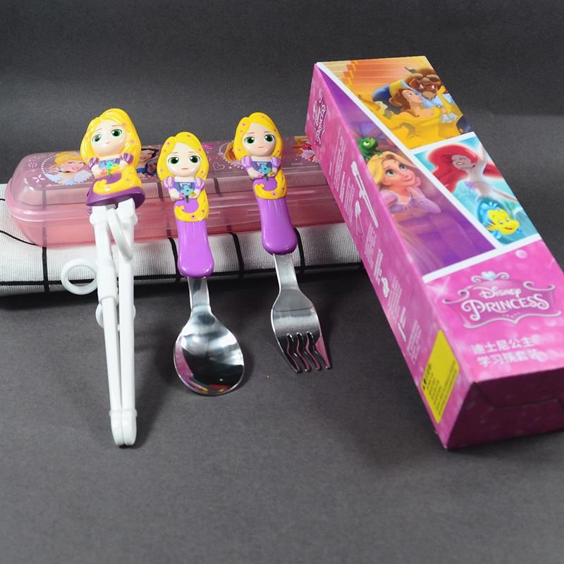 Baguettes Disney pour enfants baguettes de formation | Baguettes de pratique d'apprentissage pour bébés, cuillère auxiliaire, fourchette couverts (lot de 4)