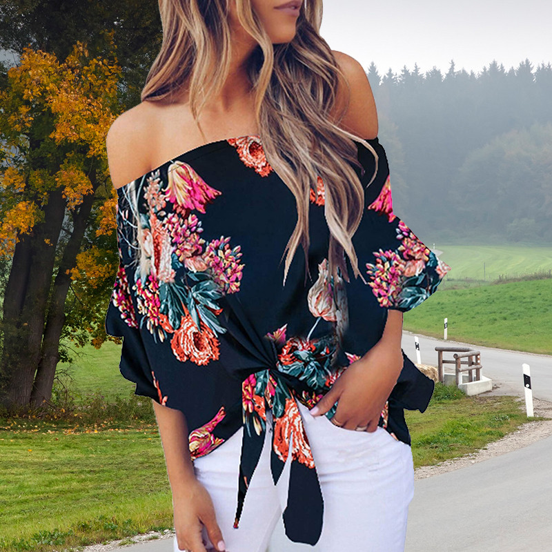 Summer Sexy Blouse Women Floral Printing Off Shoulder Shirt Sleeveless Loose Casual Blouse Ladies Large Size Tops