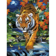 Diamond Embroidery Full Display 5D Painting Tiger Mosaic Animals Cross Stitch Decor Factory Direct