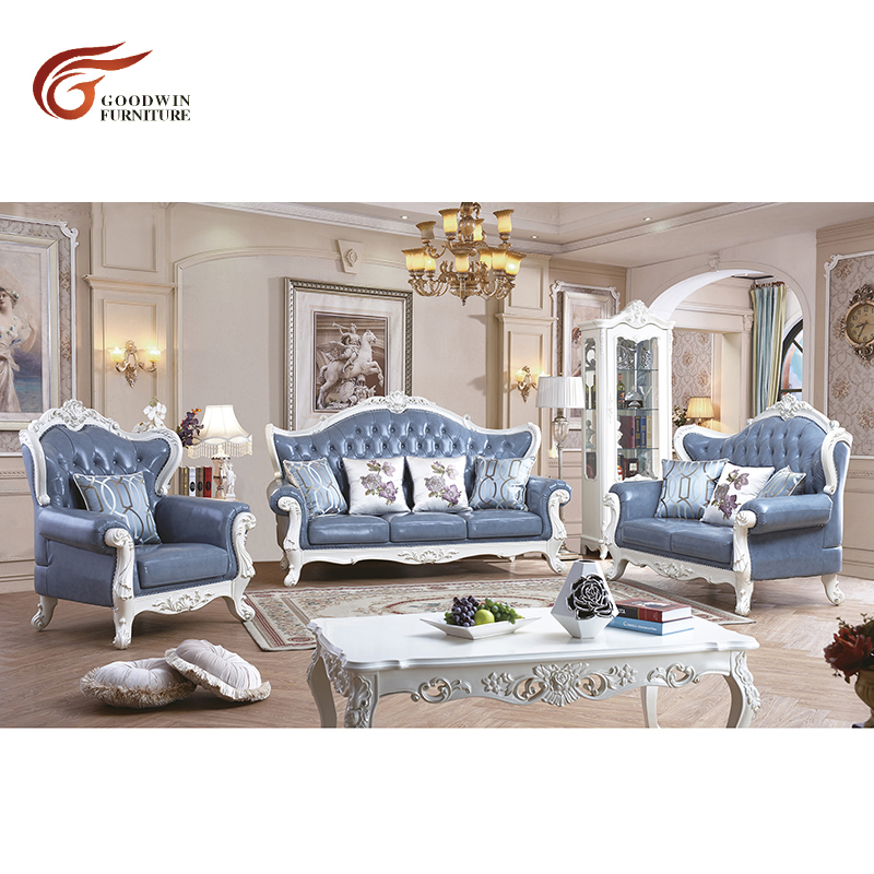 Hot Discount European Style Living Room Genuine Leather Sofa