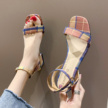 Plaid High Heel Sandals Women Summer Shoes Open Toe Ankle Strap Chunky Heel Women Sandals Outdoor Casual Female Shoes 2020