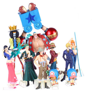 10pcs/set Anime One Piece Action Figures 2 Years Later Luffy Zoro Sanji Usopp Brook Franky Nami Robin Chopper 2