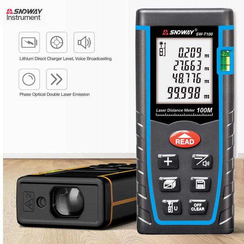Compteur de Distance Laser SNDWAY 40m 60m 80m 100m télémètre SW-T40/60/80/100 instrument de mesure infrarouge de haute précision portable