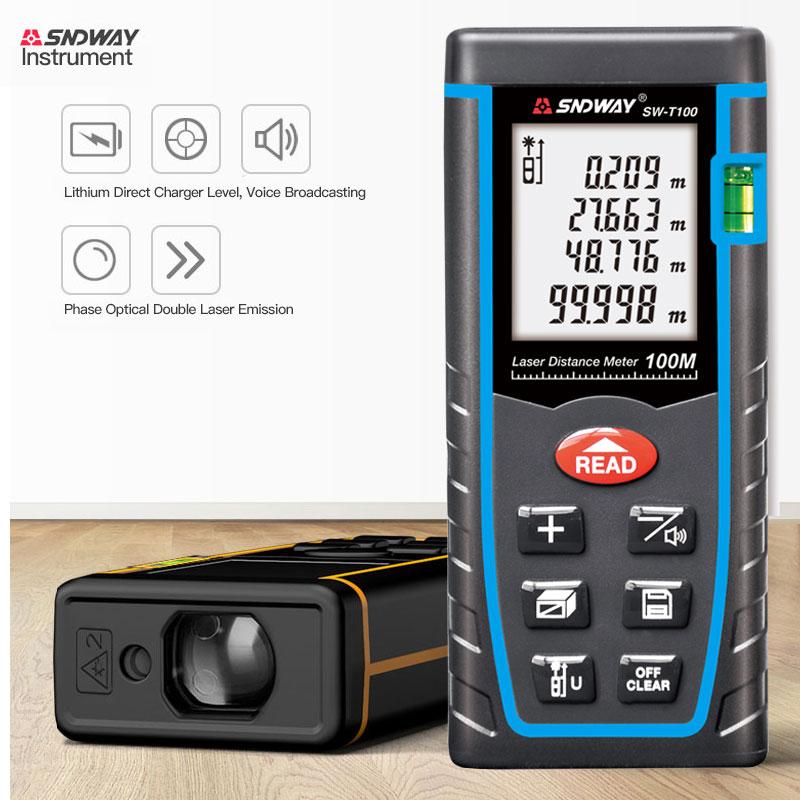 SNDWAY Laser Distance Meter 40m 60m 80m 100m rangefinder SW T40/60/80/100 High precision infrared measuring instrument handheld
