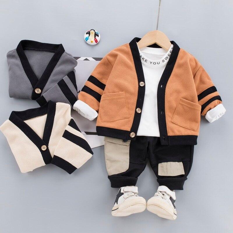 Cardigan + T-shirt + spodnie 3 sztuk/zestaw Baby Boys odzież dla dzieci strój codzienny sukienka dla niemowląt 2021 Fall Kids Clothing