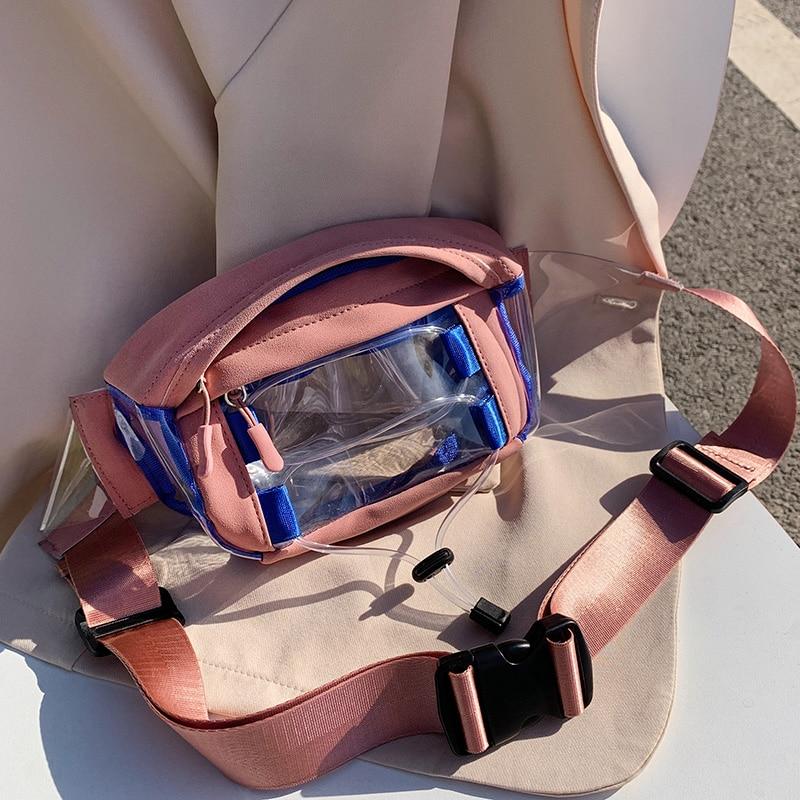 PVC Waterproof Fanny Packs For Women 2020 Summer Field Travel Waist Packs Lady Summer Transparent Chest Bag Female Belt Bags