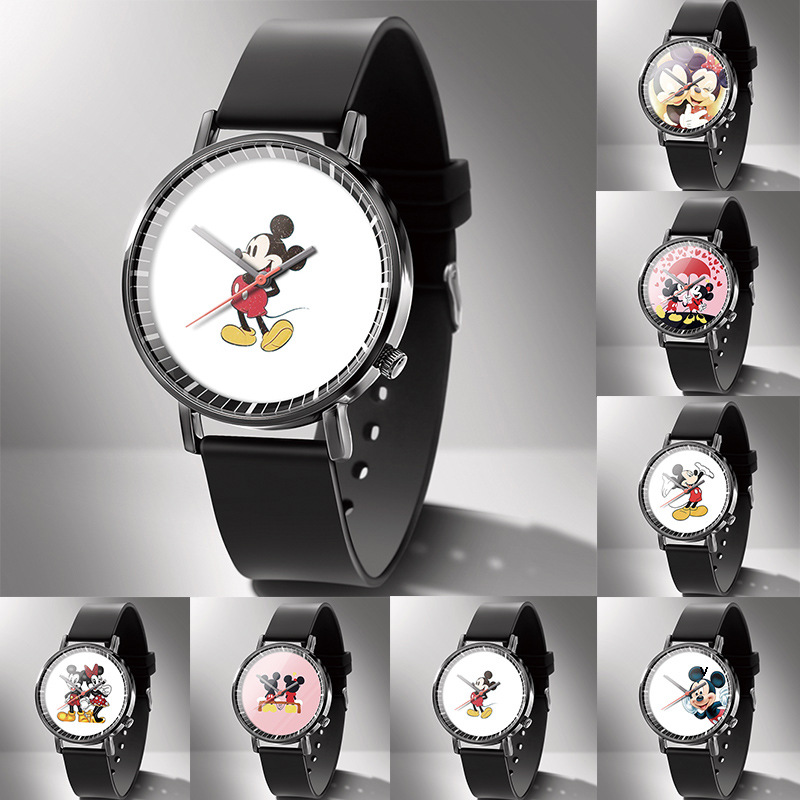 Disney Mickey Mouse Quartz Wristwatch Mickey Mouse Wristwatch Cartoon Quartz Watch Kids Watches Boys Kids Watches Silicone