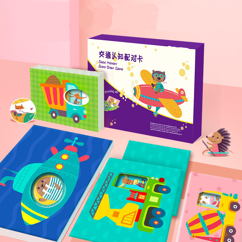 Cognitive Matching Card For Early Childhood Education Cartoon Animal Vehicle Pattern Baby Toys Visual Jigsaw Puzzle 48PCS/Set