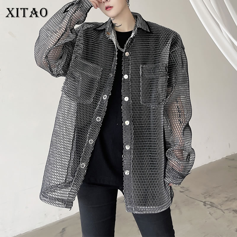 XITAO Mesh Hollow Out Solid Color Jacket Women 2021 Summer New Tide Personality Fashion Loose Single Breasted Thin Coat WMD0442