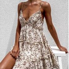 Boho summer Floral print ruffle Spaghetti a-line dress Women sexy Ruffle v-neck mini dress holiday Beachwear dresses vestidos