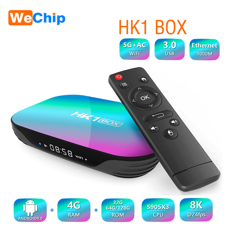 Wechip HK1 TV Box Android 9.0 RAM 4GB ROM 32G/64G 128GB Amlogic S905X3 1000M LAN 2,4/5G Wifi Bluetooth 4,0 HD Smart Set-Top-Box