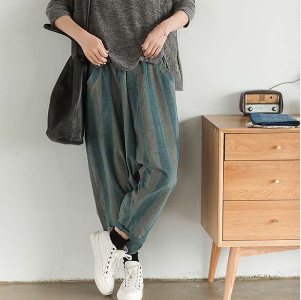 Autumn Pants Women Fashion Loose Corduroy Trousers 2019 New Elastic Waist pocket Striped Casual Ladies Pants-in Pants & Capris from Women's Clothing on AliExpress - 11.11_Double 11_Singles' Day 1