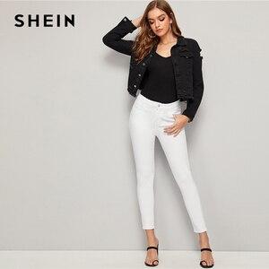 Image 5 - SHEIN czarny mycia zgrywanie postrzępione krawędzi kurtka dżinsowa płaszcz kobiety wiosna jesień pojedyncze piersi typu streetwear z długim rękawem kurtki okazjonalne