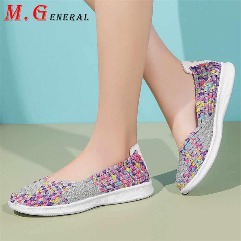 Yürüyüş spor ayakkabı kadın spor loafer'lar el yapımı koşu ayakkabıları kadınlar renkli tenis kadın ayakkabısı dokuma düz kadın spor ayakkabılar V14