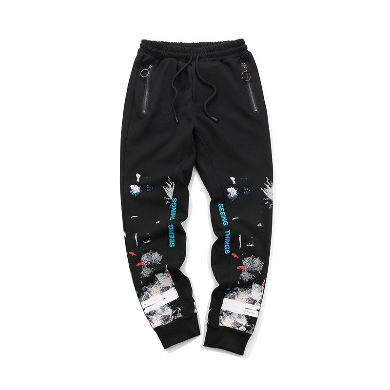2018 New Style Europe And America Popular Brand Off Ow White Series Fireworks Snowflake Students Couples Sweatpants Casual Long