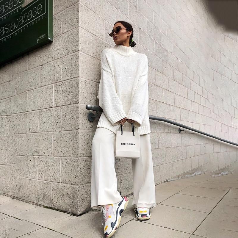 Autumn Winter 2019 Knitwear Pullover Sweater Women White Oversized Jumper Fashion Casual Turtleneck Basic Sweaters