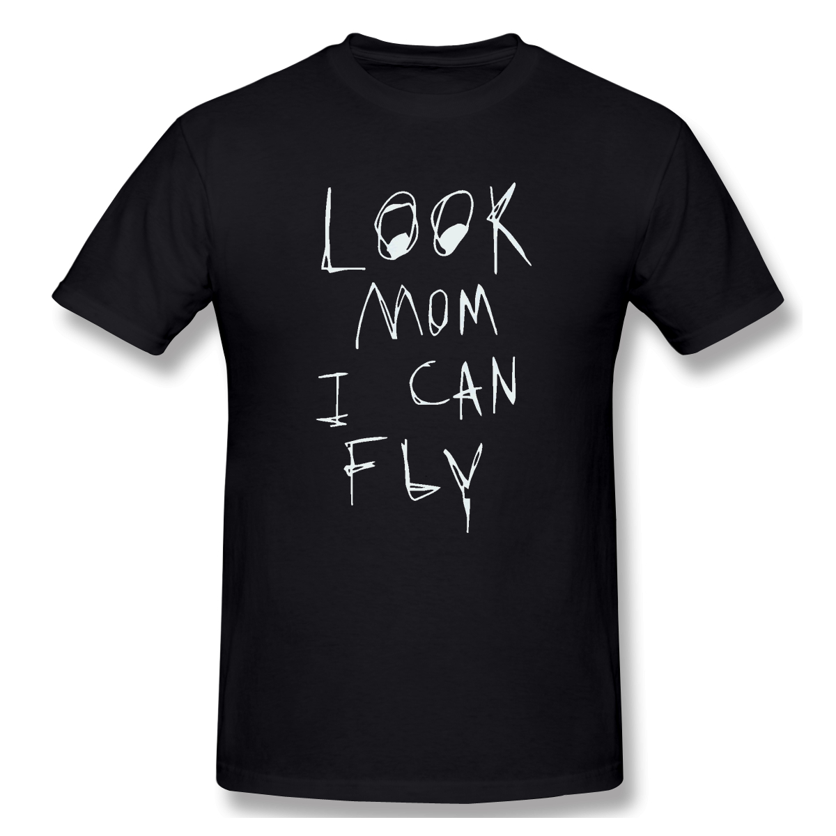 T-Shirt for Men Look Mom I Can Fly 100% Cotton Tees Crewneck travis scott Short Sleeve T Shirt 6XL Funny Plus Size Clothes(China)