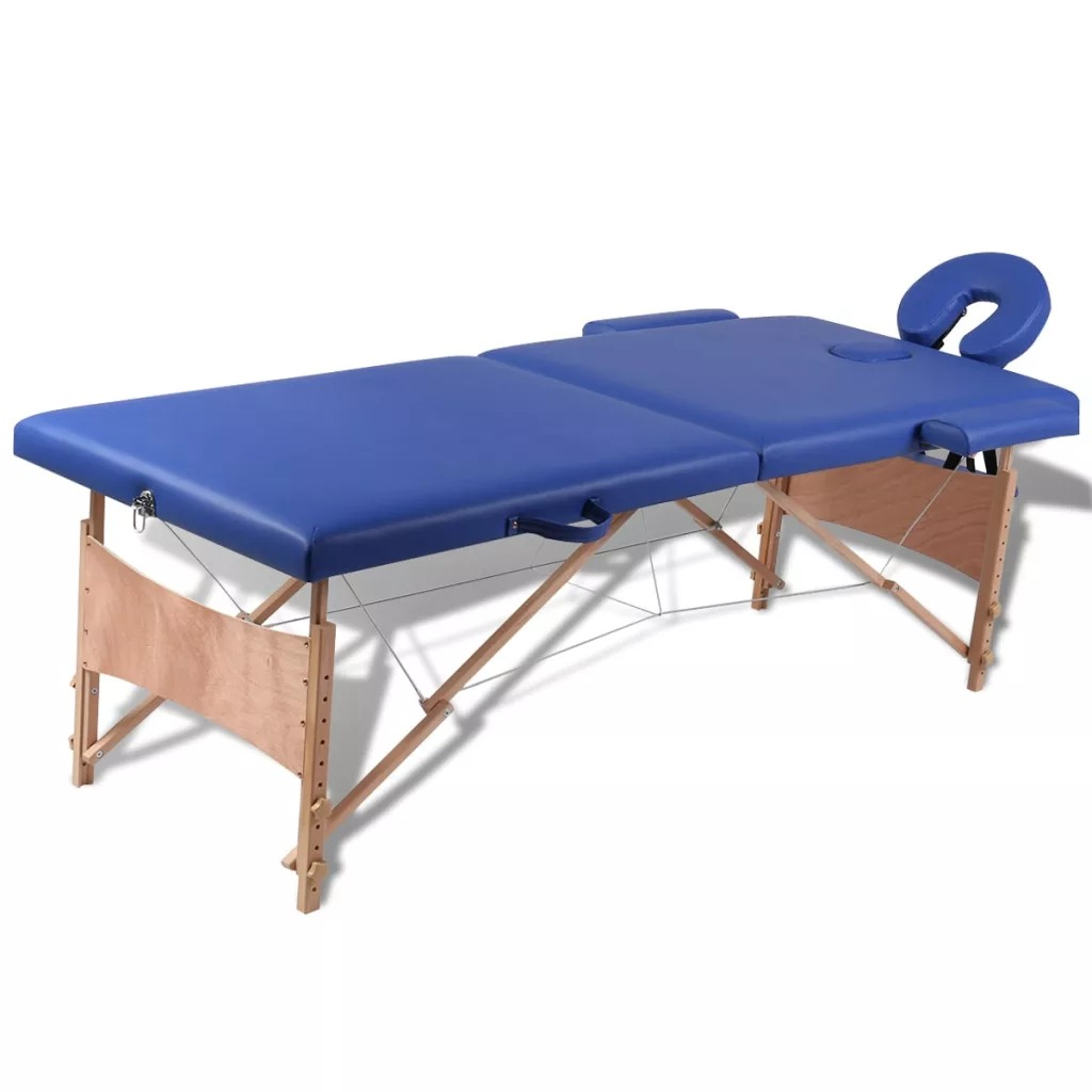 Vidaxl Lipat Kecantikan Bed 186X68 Cm (L X W) portabel Profesional Spa Pijat Meja Lipat dengan Tas Salon Furniture Kayu