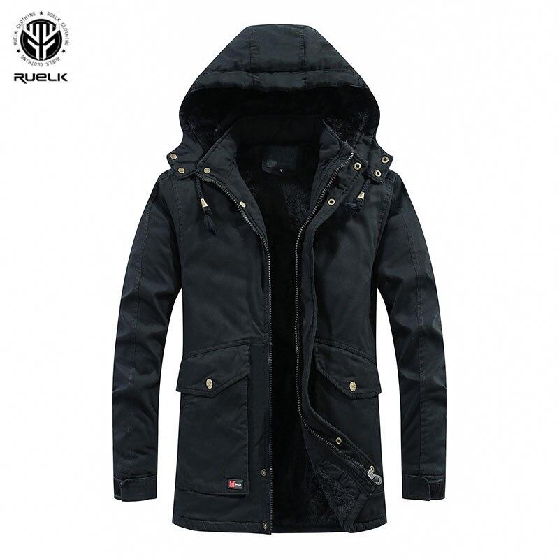 RUELK Men Casual Hooded Parka 2019 Winter Mens Cotton Slim Fit Coat Thick Warm Homme's Parka Zipper Jacket 4XL