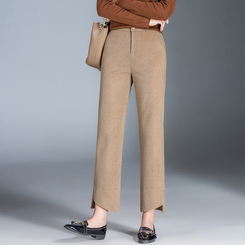 202019 Years Autumn New Style WOMEN'S   Pants   Thick Woolen Straight-Cut   Capri   WOMEN'S   Pants   Large Size Drainpipe Jeans Casual   Pant